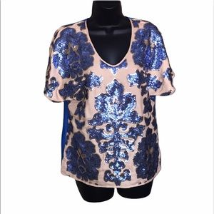 Tracy Reese Newman Marcus Sequined Blouse Size S